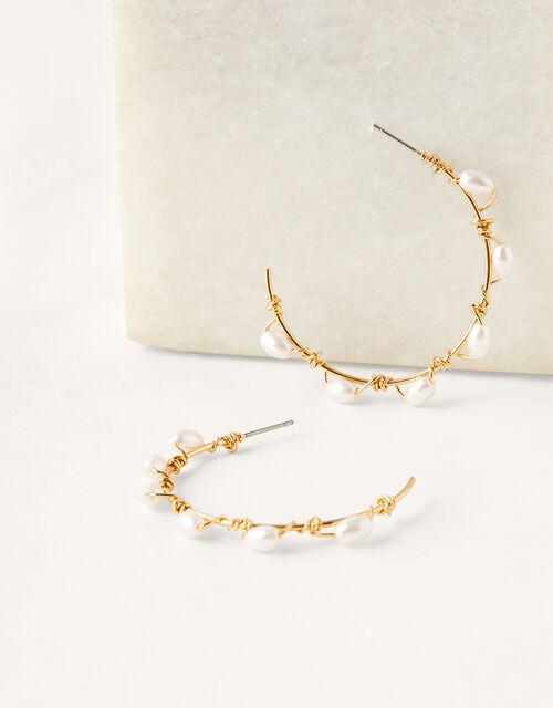 Pearly Hoop Earrings, , large
