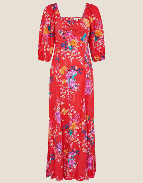 Omi Floral Print Midi Dress, Red (RED), large