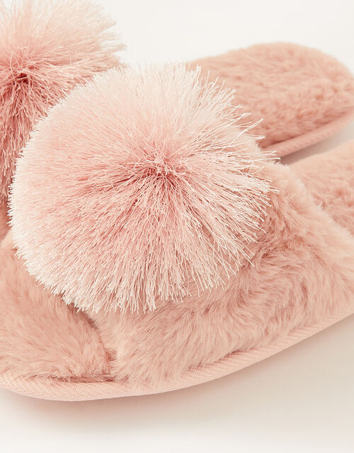 Faux Fur Pom-Pom Slippers, Pink (PINK), large