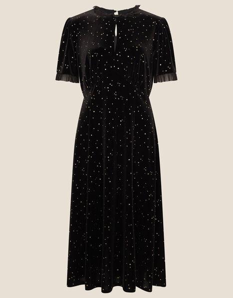 Vicki Star Tulle Trim Midi Dress Black, Black (BLACK), large
