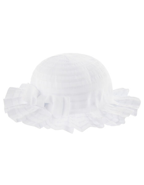 Baby Ruby Pleated Bow Hat  White, White (WHITE), large