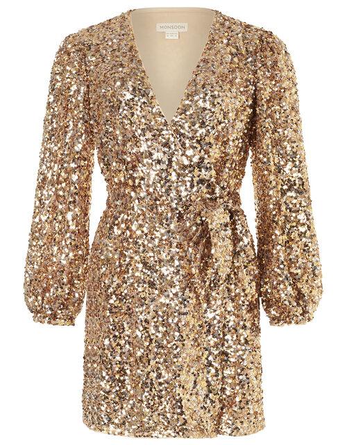 Jennifer Sequin Stretch Wrap Dress, Gold (GOLD), large