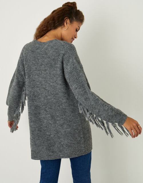Fringe Cardigan with Recycled Polyester, Grey (CHARCOAL), large