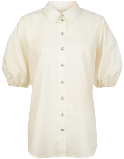 Hoxley Puff Sleeve Shirt in Pure Cotton, White (WHITE), large