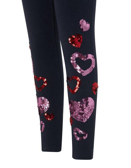 Heart Sequin Embellished Leggings, Blue (NAVY), large