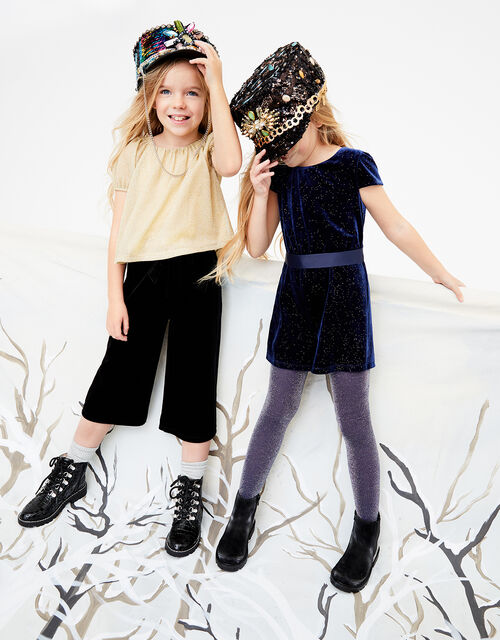Metallic Top and Velvet Culottes Set, , large