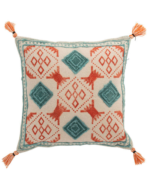 Textile Tassel Cushion in Pure Cotton, , large