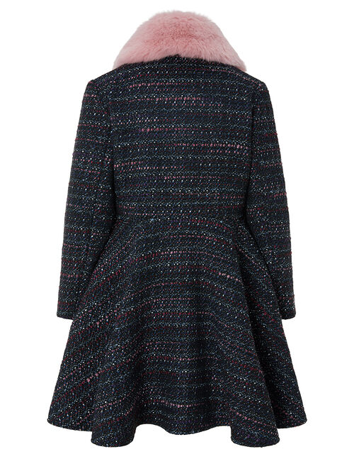 Tweed Skirted Coat, Blue (NAVY), large
