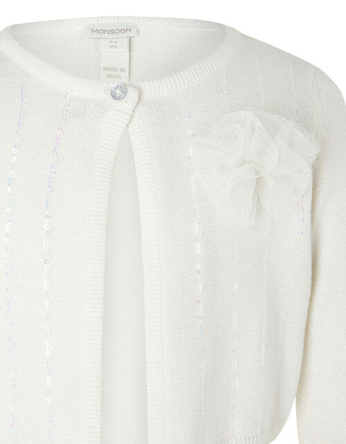 Camilla Sequin Cardigan with Corsage, Ivory (IVORY), large