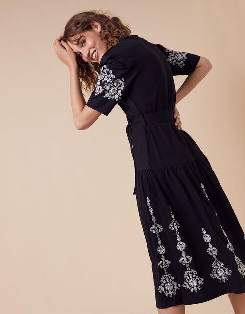 Floral Embroidery Midi Dress, Black (BLACK), large