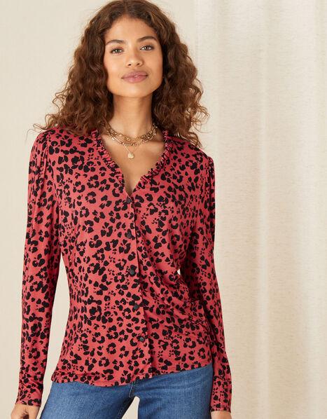 Animal Print Jersey Shirt Orange, Orange (RUST), large