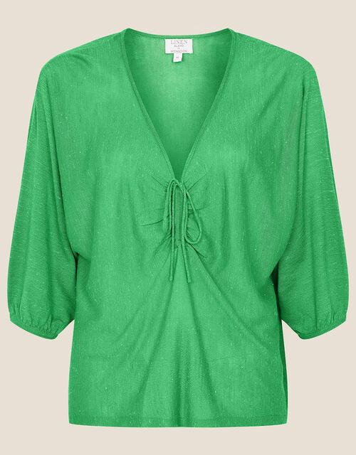 Ruched Jumper in Linen Blend, Green (GREEN), large