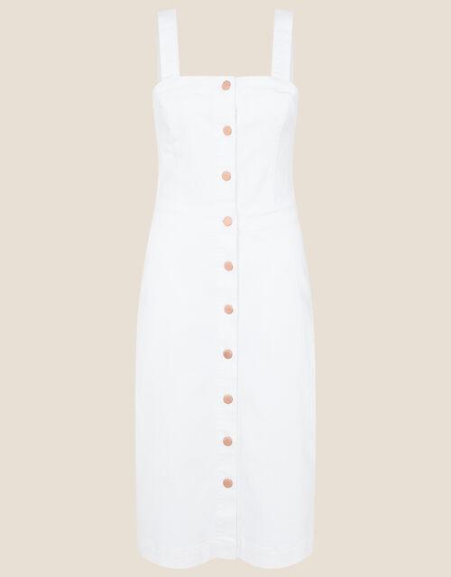 Button-Through Denim Pinafore Dress, Natural (ECRU), large