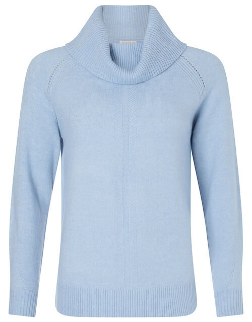 Cowl Neck Raglan Stitch Knit Jumper, Blue (BLUE), large