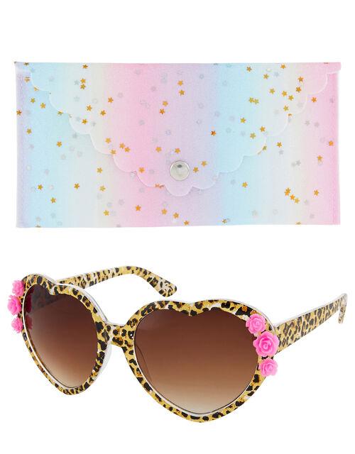 Leopard Print Heart Sunglasses, , large