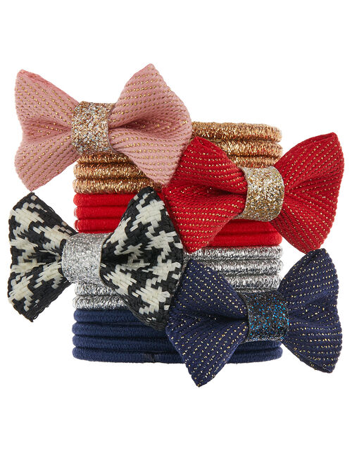 Glitter Bow School Hair Band Multipack, , large