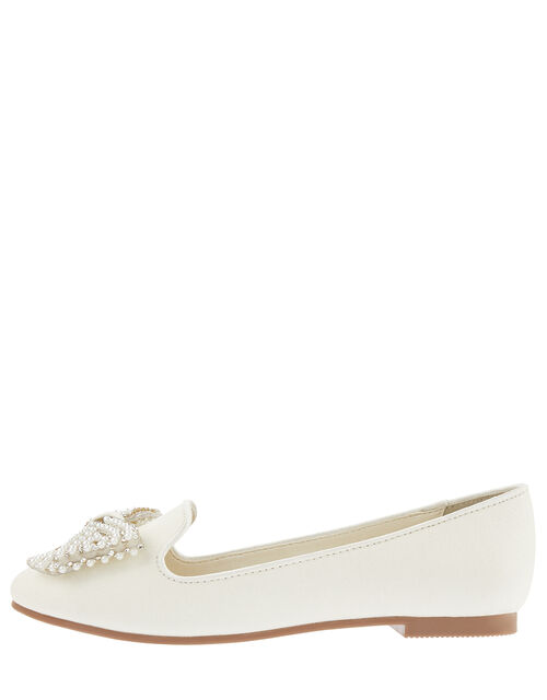Pearl Bow Slippers, Ivory (IVORY), large