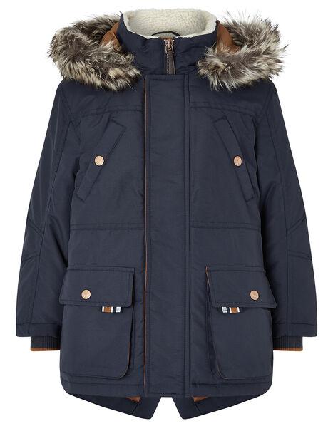 Boys Navy Parka Coat Blue, Blue (NAVY), large
