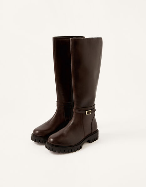 Sadie Leather Riding Boots Brown, Brown (CHOCOLATE), large