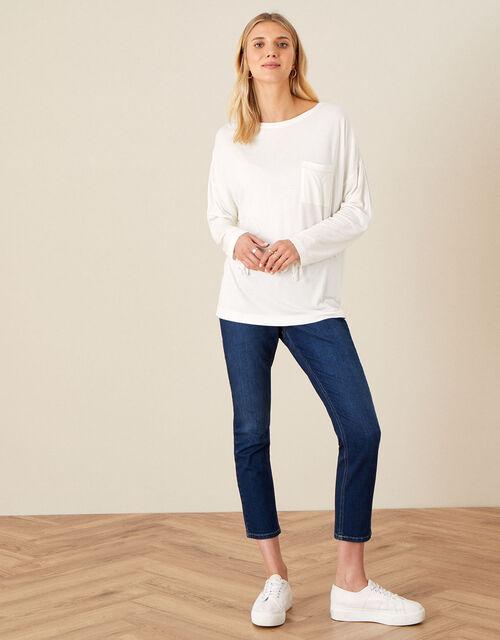 Plain Long Sleeve Top, Ivory (IVORY), large