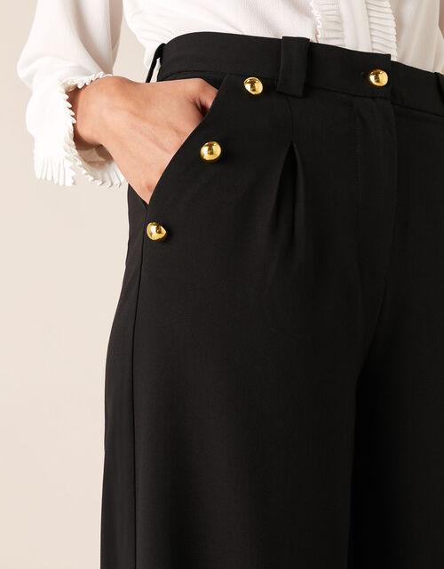 Military Wide-Leg Trousers, Black (BLACK), large