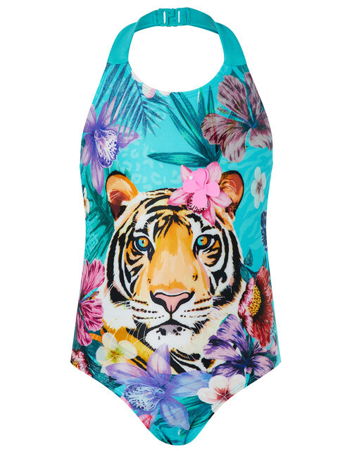 Tiko Tiger Swimsuit with Recycled Polyester, Green (GREEN), large