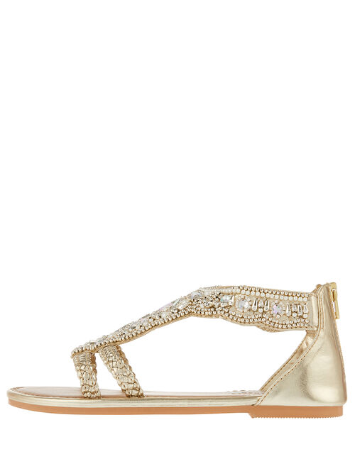 Valencia Bead and Gem Sandals, Gold (GOLD), large