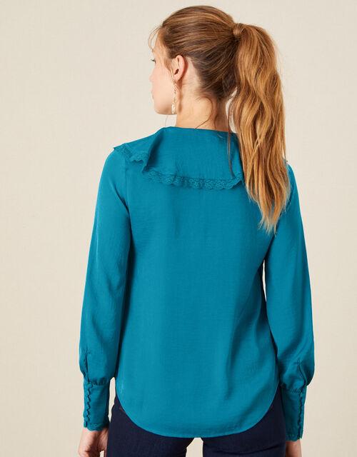 Quinn Ruffle Satin Long Sleeve Blouse, Blue (AQUA), large
