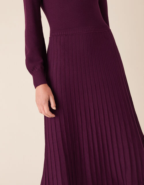 Roll Neck Knit Dress with LENZING™ ECOVERO™, Red (BERRY), large