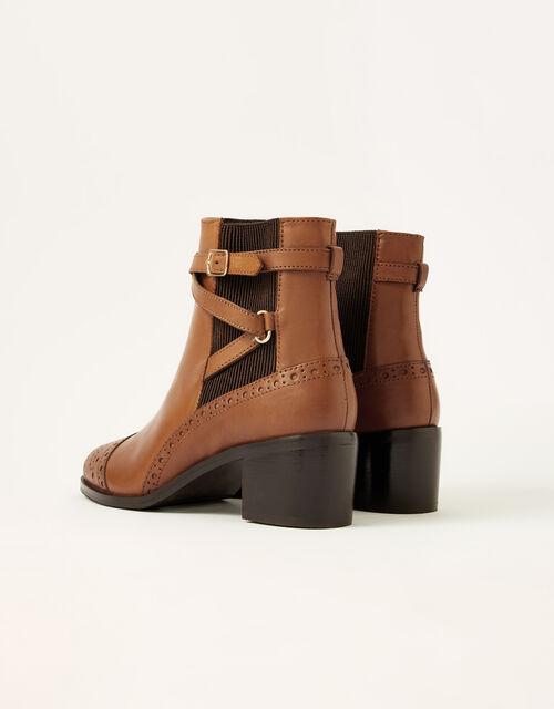 Bethan Leather Brogue Boots, Tan (TAN), large