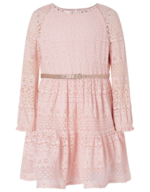 Lace Dress with Glitter Belt, Pink (PALE PINK), large