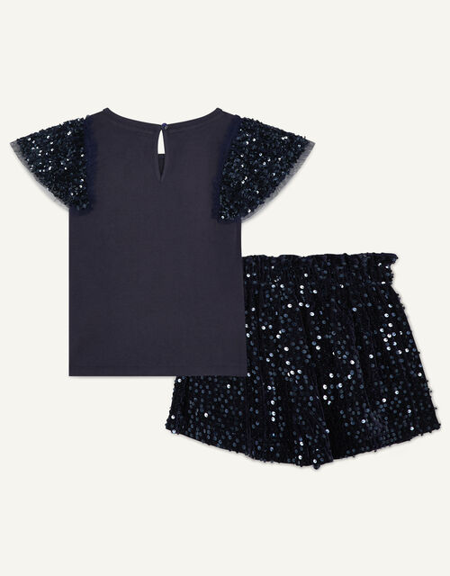 Party Sequin Top and Shorts Set, Blue (NAVY), large