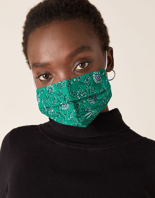 Floral Pleated Face Mask in Pure Cotton, , large