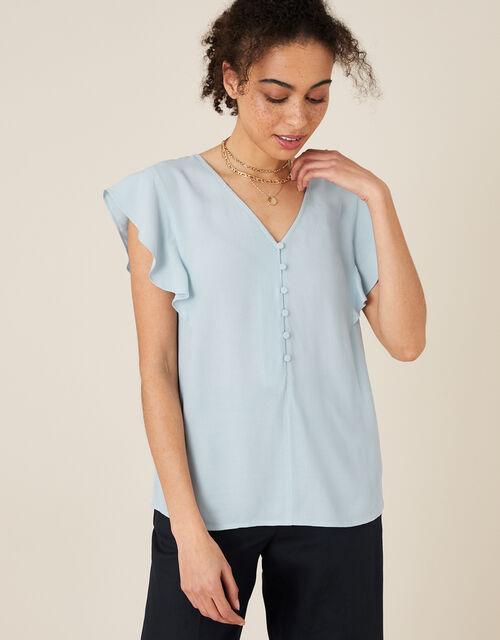 Ruffle Short Sleeve Blouse, Blue (BLUE), large