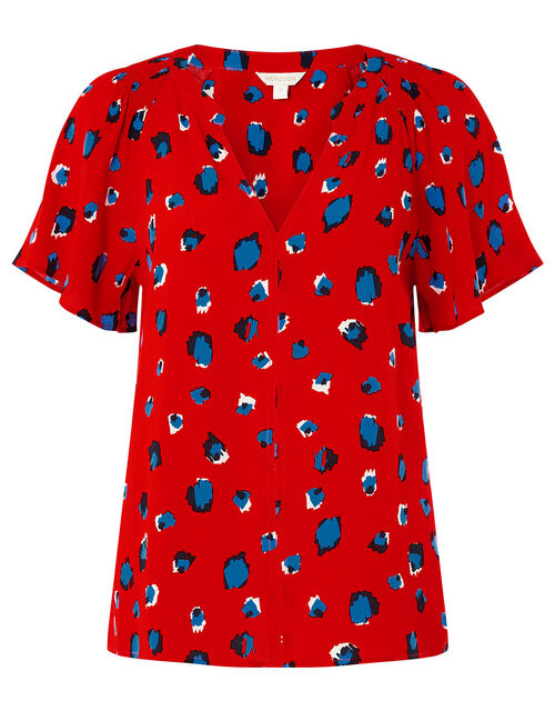 Animal V-Neck Top with LENZING™ ECOVERO™, Red (RED), large