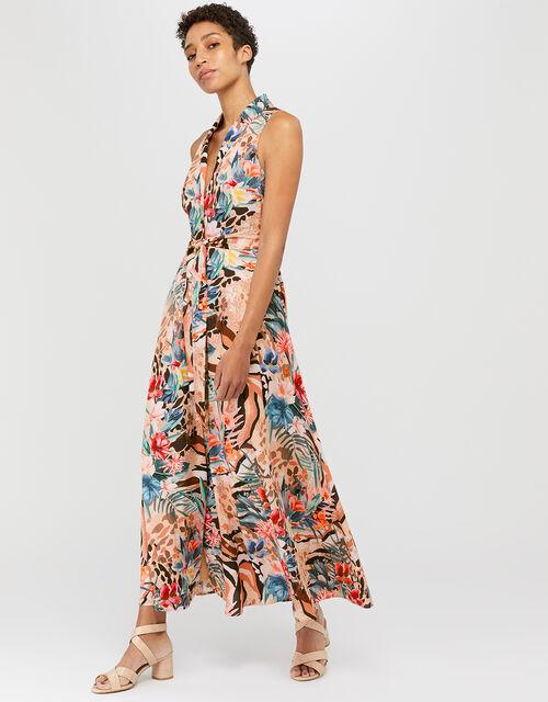 Chica Animal Print Midi Dress, Camel, large