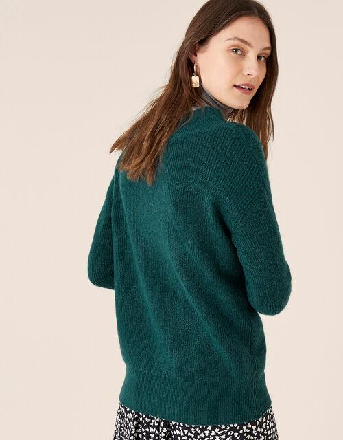 Georgina V-Neck Rib Knit Jumper, Green (GREEN), large