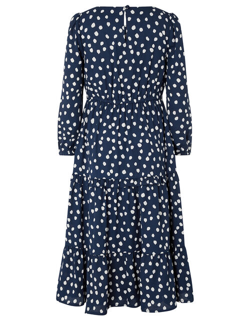 Serenity Spot Dress in Recycled Polyester, Blue (NAVY), large