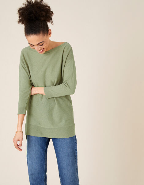 Simmi Slash Neck Longline Jumper Green, Green (KHAKI), large