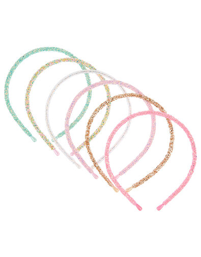 Rainbow Glitter Hair Band Set, , large