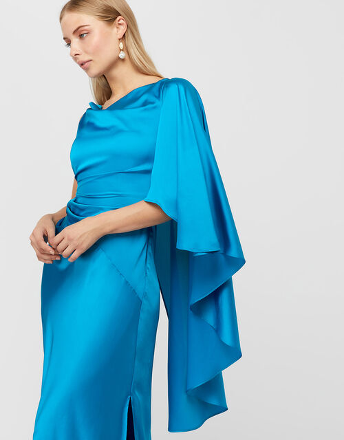 Cobie Satin Cape Maxi Dress, Blue, large