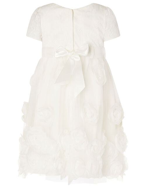 Baby Lace and 3D Rose Christening Dress, White (WHITE), large