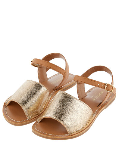 Zeta Peep-Toe Leather Sandals  Gold, Gold (GOLD), large