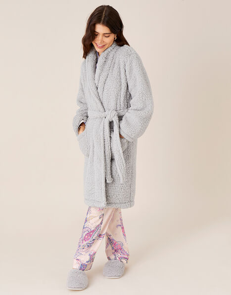 LOUNGE Fluffy Dressing Gown Grey, Grey (GREY), large