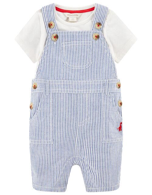 Newborn Baby Gabe Dungaree Set, Blue (BLUE), large