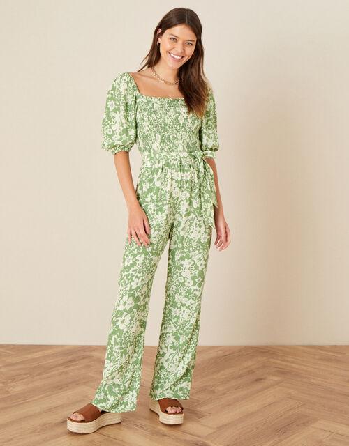 Julia Floral Shirred Jumpsuit, Green (GREEN), large