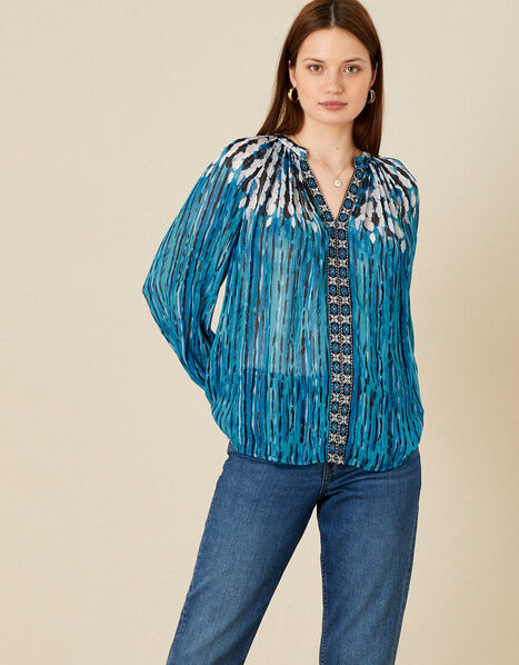 Feather Print Embellished Top Blue, Blue (BLUE), large