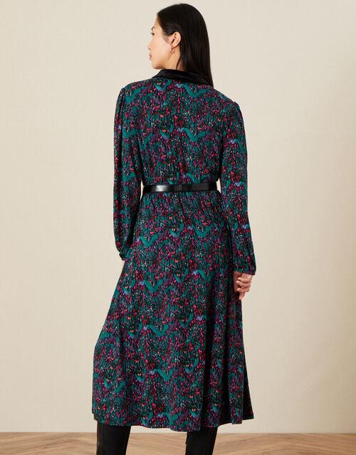 Printed Midi Shirt Dress, Black (BLACK), large