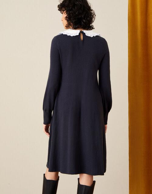 Charlotte Collar Swing Dress , Blue (NAVY), large