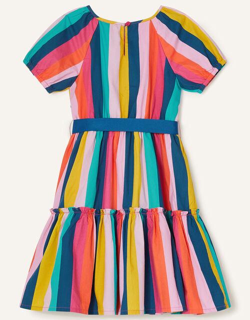 Stripe Print Tiered Dress, Multi (MULTI), large